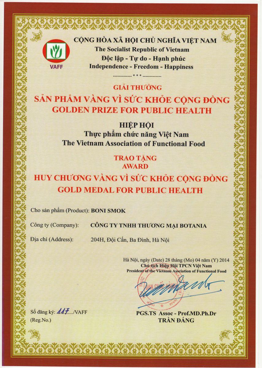Boni-Smok - Giải thưởng sản phẩm vàng vì sức khỏe cộng đồng năm 2017